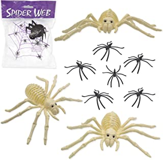 JoinBO 3PCS Halloween Skeleton Spider with 60G Stretch Spiderweb 4 Spooky Spider Halloween Indoor and Outdoor Decor Set