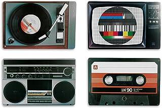 comprar comparacion Out of the blue Juego de manteles Nostalgia, diseño de Equipos HiFi, Estilo Retro, de la Marca Leewadee