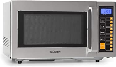 Klarstein Pro Bestzeit 25 Microondas Profesional - gastronomía, uso comercial 1000W, cámara de cocción de 25 litros, 52 x 31 x 44 cm, pantalla LCD, 3 niveles de potencia, acero inoxidable