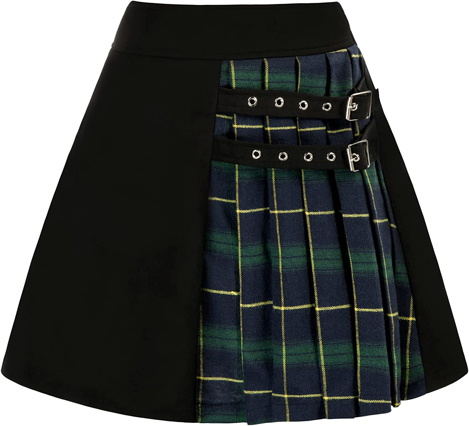SCARLET DARKNESS Womens 4 years warranty Plaid Mini shipfree Skirt Waisted Elastic Casual
