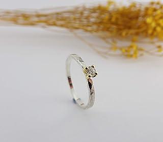 Anello di fidanzamento in oro e diamante argento