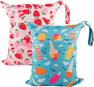 Babygoal Wet Dry Bags for Baby Cloth Diapers, Washable Travel Bags, Beach, Pool, Gym Bag for Swimsuits & Wet Clothes with Two Zippered Pockets 2 Pack LN02