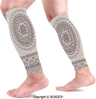 Flexible Breathable Comfortable Leg Skin Protector Sleeve Floral Tattoo Design Inspirations from Asian Civilizations Doodle Style Soft Colored Decorative Calf Compression Sleeve