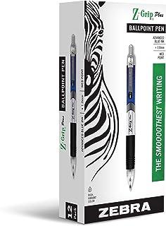 Zebra Pen Z-Grip Plus Retractable Ballpoint Pen, Medium Point, 1.0mm, Blue Ink, 12-Count