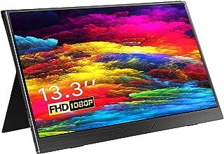 Monitor Portátil 13,3 Pulgadas, Eviciv Monitor Gaming HDMI Full HD 1920 x 1080 IPS Pantalla con USB C/Mini HDMI, Altavoces...