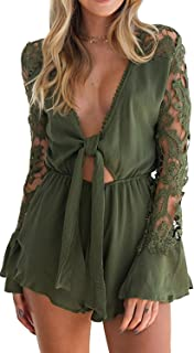 1bcbd6a0ea6 MISTY STORY Women s Lace Trim Deep V Neck Sexy Long-Sleeved Lotus Chiffon  Jumpsuit Rompers