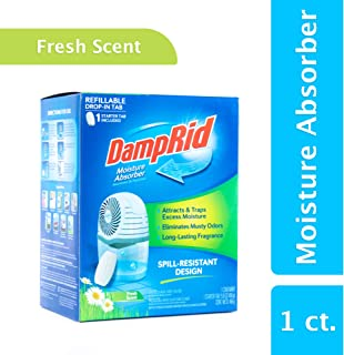 DampRid Drop-In Moisture Absorbing Tab Starter Kit; 15.8 Oz. Fresh Scent Drop-In Tab Attracts Excess Moisture to Create Fresher, Cleaner Air and Remove Musty Odors
