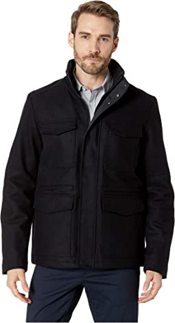 Four-Pocket Wool Jacket with Contrast Rib Tipping Inside Collar