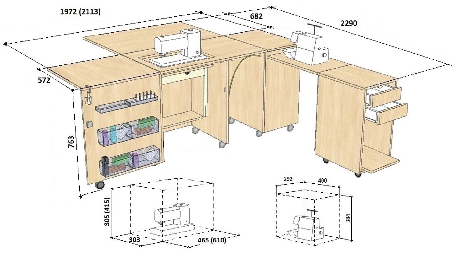 Comfort 4 | Mueble para máquina de coser | (Oak Sorano Natural ...