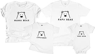 Family Mama Papa Baby Bear Matching Tshirt for Moms & Dads