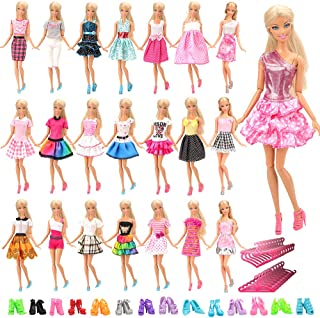 Barwa 60 PCS Items for 11.5 Inch 28 - 30 cm Dolls: 20 Clothes Dresses Outfits + 20 PCS Shoes + 20 Hangers