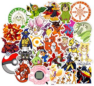 Digimon Laptop Stickers Kids Teens Classic Japanese Anime Stickers for Water Bottles Luggage Phone Bumper Cars Skateboard 50pcs