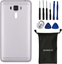 sunways Metal Back Cover + Volume Key Cover +Power Button Cover + Rear Camera Glass Lens Replacement for Asus Zenfone 3 Laser ZC551KL(Silver)