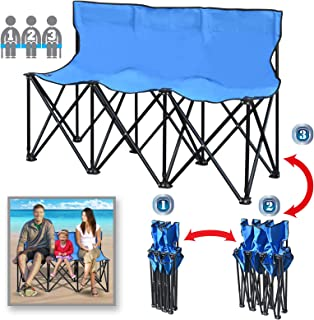 BenefitUSA Portable Sports Bench Sits 3/4/6 Seater Folding Team Sideline Bench Camping Bleacher Chair with Back and Carry Bag