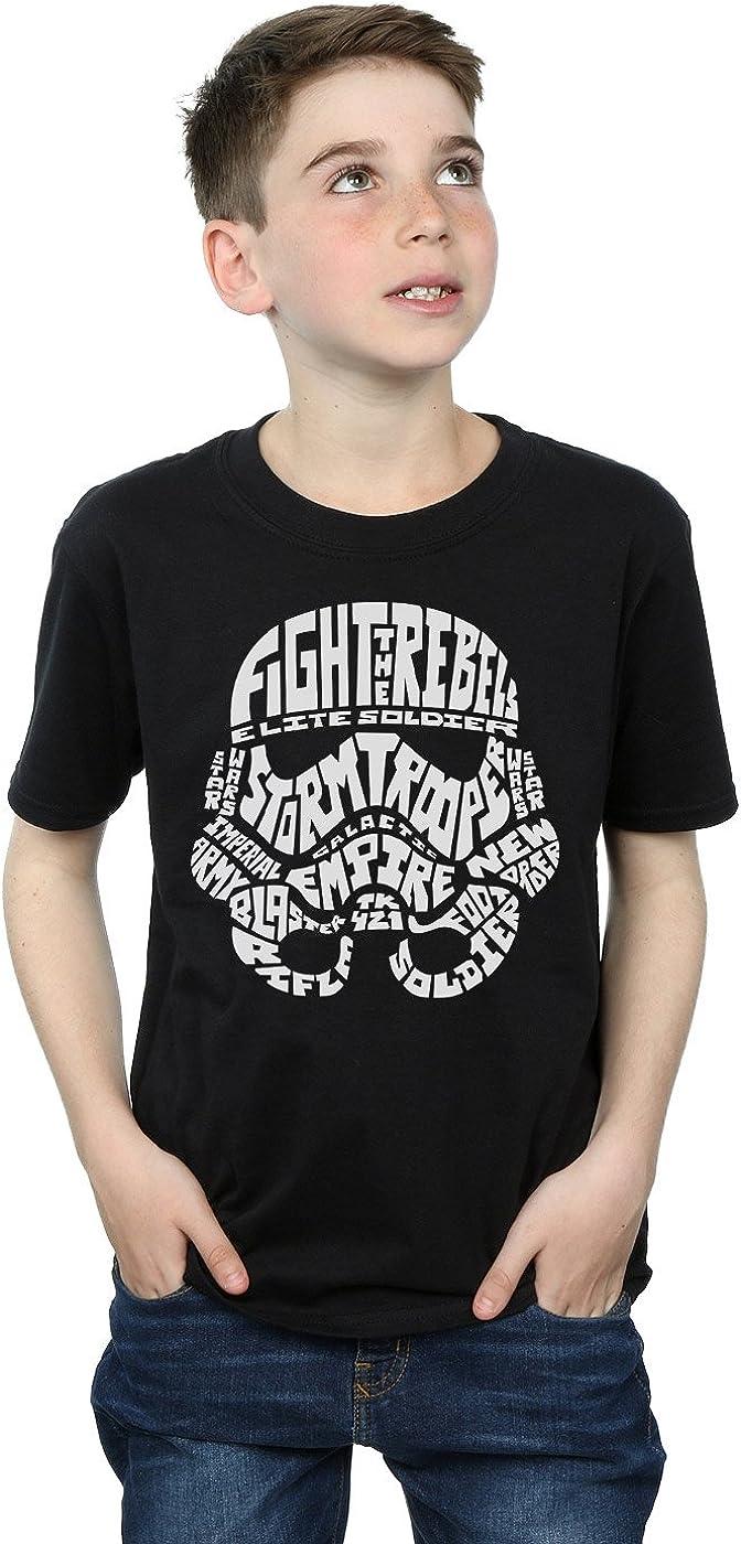 STAR WARS Boys Stormtrooper Text Head T-Shirt 7-8 Years Black