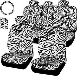 AUTOYOUTH Short Plush Luxury Zebra Cover Seats for Cars with Steering Wheel Cover and Seat Belt Pad