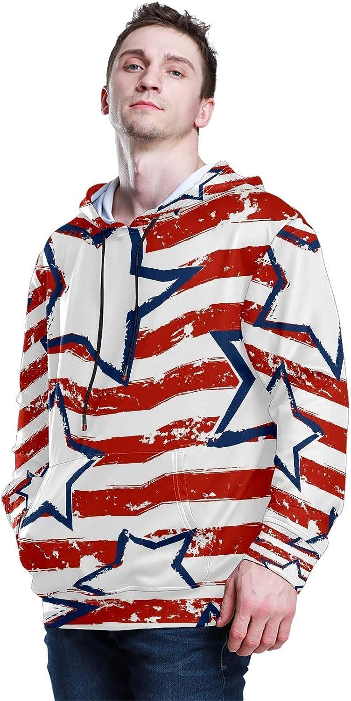 Men's Sport Hoodie American Flag Star Crayon Drawing Big and Tall Hoodies for Men Women Oversized Hooded Sweatshirt Hip Hop Pullover Hoodie Midweight Hood for Boys Girls