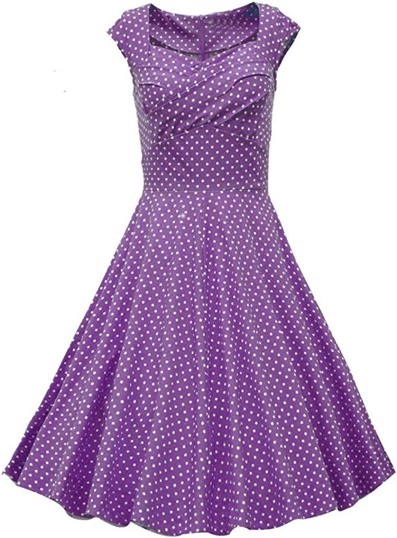 wotefusi Women 1950s Vintage Cap Sleeve Party Swing Slim Dress