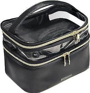 Sponsored Ad - Makeup Bag, Travel Cosmetic Bag, Large Make Up Case, Makeup Organizer, Waterproof Portable Double Layer Bag...