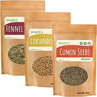 Yamees Cumin Seed, Fennel Seed and Coriander Seed - Ingredients for CCF Tea - Bulk Spices - 3 Pack of 6 Ounces Each