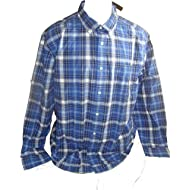 Tommy Hilfiger Mens Classic Fit Plaid Button Down Shirt Large Monaco Blue