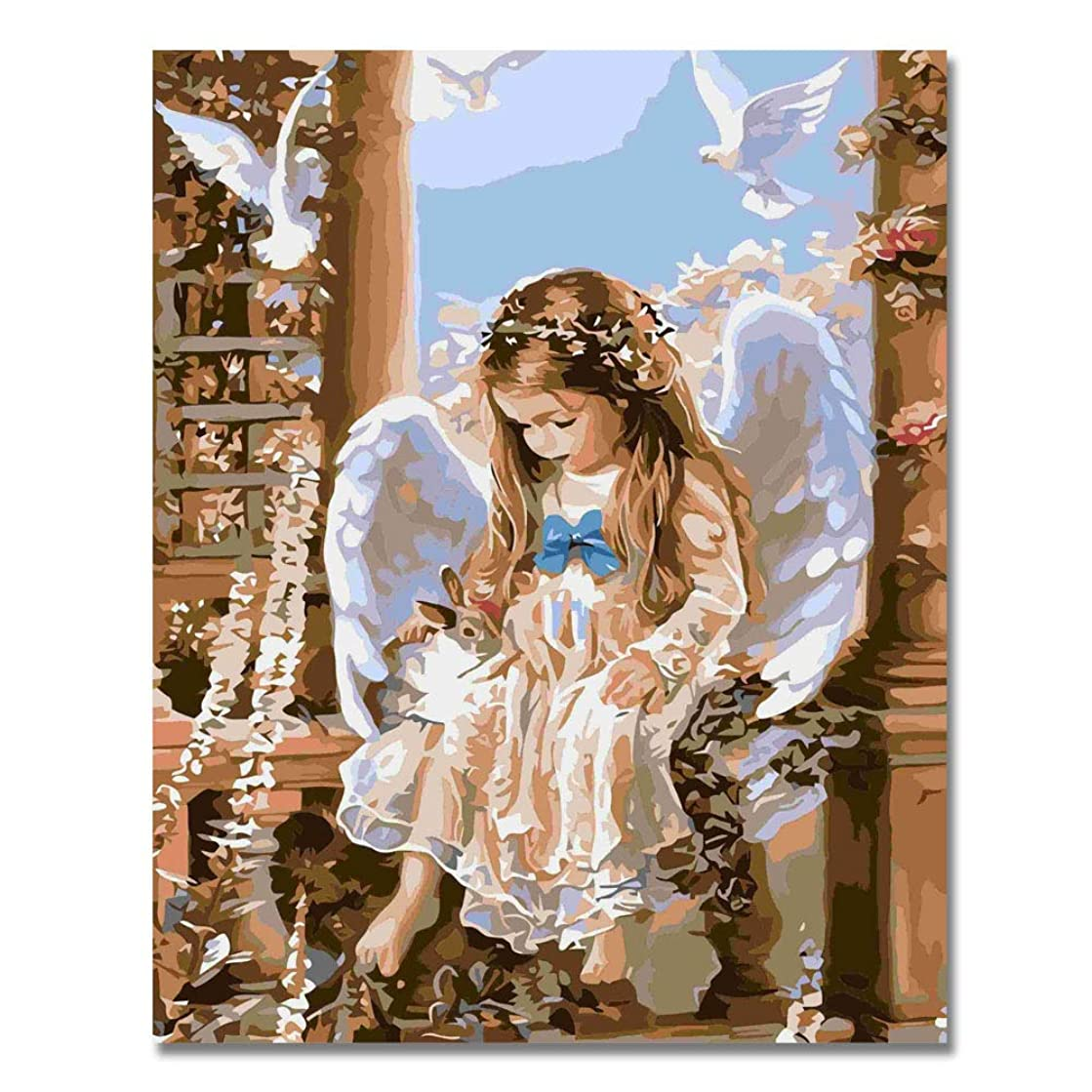 LIUDAO DIY Oil Painting on Canvas Paint by Number Kit for Adults Kids Beginner - Angel Girl - 16x20 Inches Frameless