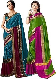 Pack of Two Sarees for Indian Women Cotton Art Silk Printed Weaving Border Saree || Sari Combo