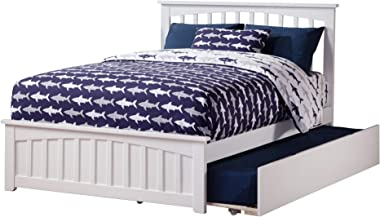 Atlantic Furniture Mission Platform Matching Foot Board and Twin Size Urban Trundle Bed, Full, White