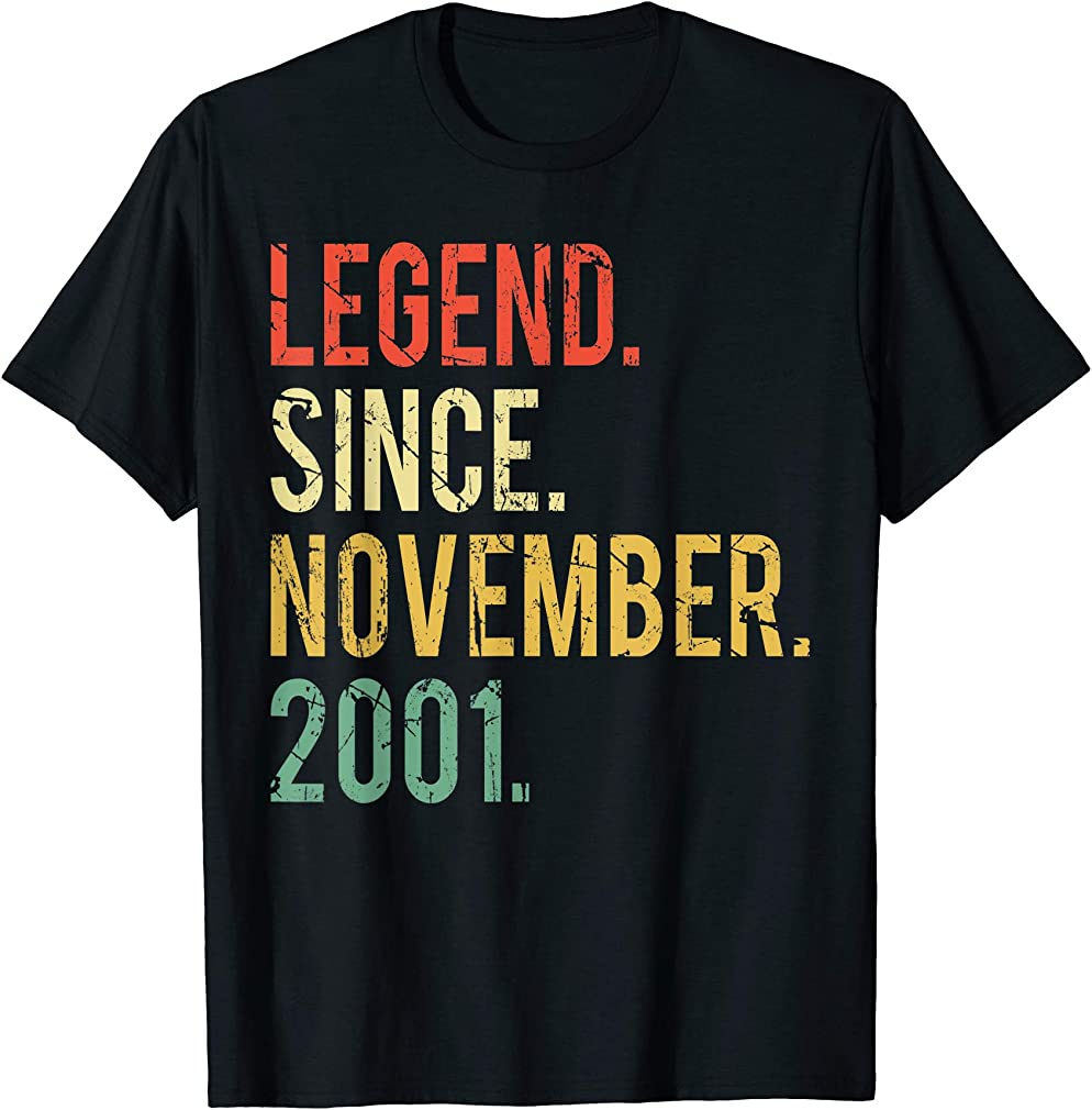18 Years Old Gifts Shirt- Legend Since November 2001 T-shirt