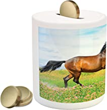 Ambesonne Animal Piggy Bank, Horse Runs Gallop on Flower Meadow Rural Freedom Animal, Ceramic Coin Bank Money Box for Cash Saving, 3.6