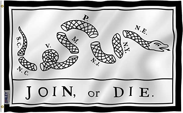 Anley Fly Breeze 3x5 Foot Join Or Die Flag Vivid Color And UV Fade Resistant Canvas Header And Double Stitched Rattlesnake Flags Polyester With Brass Grommets 3 X 5 Ft