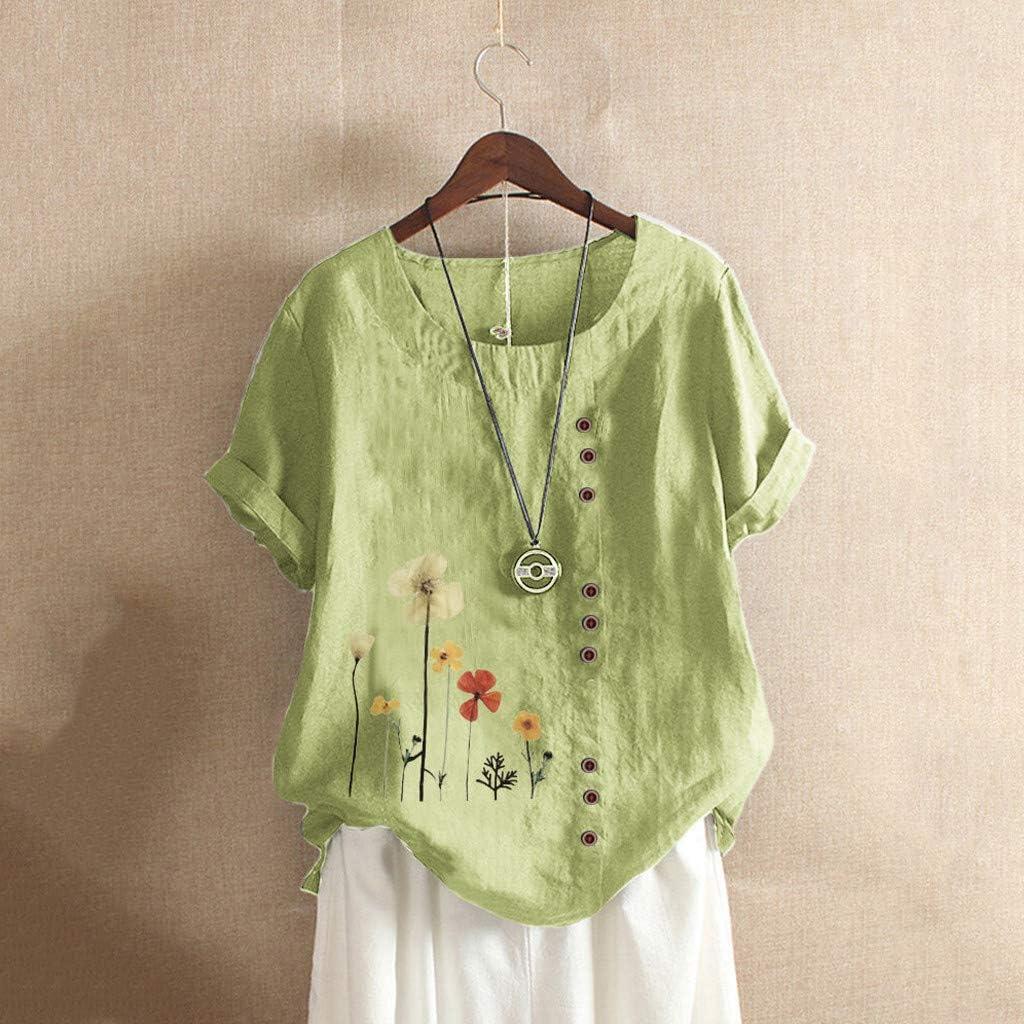 Jan STORE Short Sleeve Summer Tops for Women Cotton Linen Cute Tshirts Womens Flower Dandelion Graphic Tunic Blouses Tees