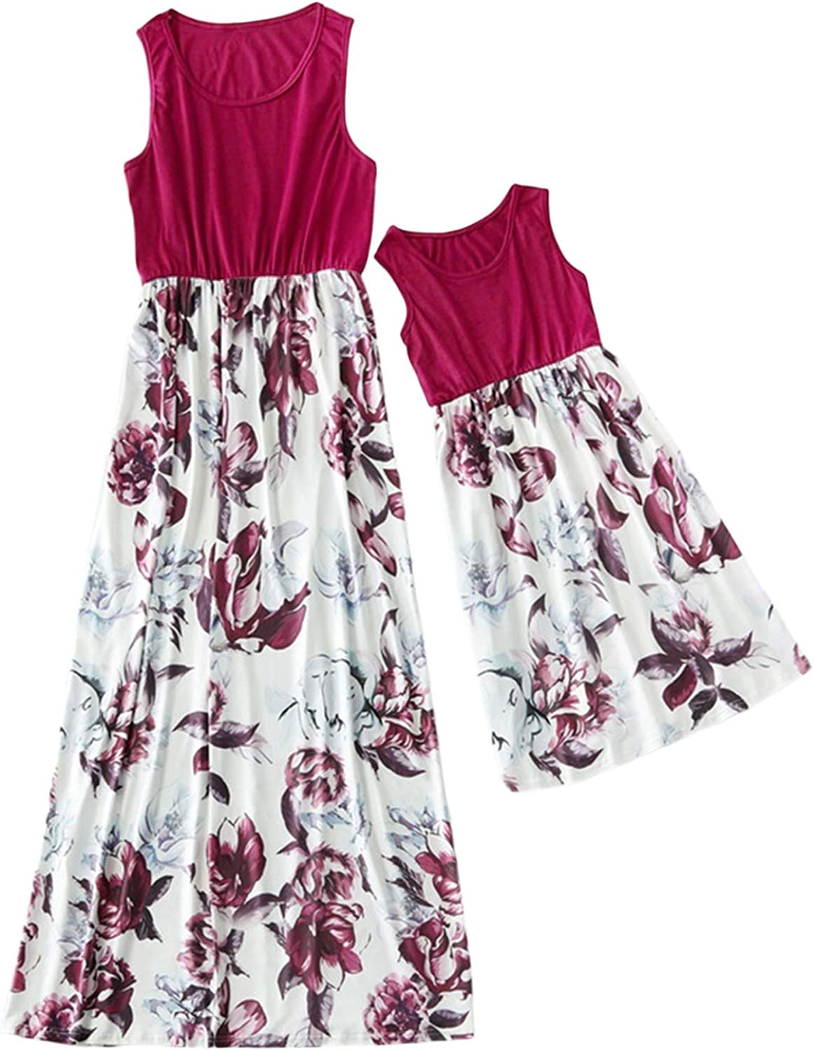 Mommy and Me Sleeveless Flower Print Maxi Tank Dresses Family Summer Matching Set Outfits, Mother and Daughter Dresses