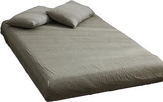 ボックスシーツ ワイドダブル マットレスカバー オーガニックコットン洗いざらしの綿100% マチ部分約30cm ベッドシーツ ベットカバー 洋式・和式兼用 防ダニ (グレー, 150x200x30cm)
