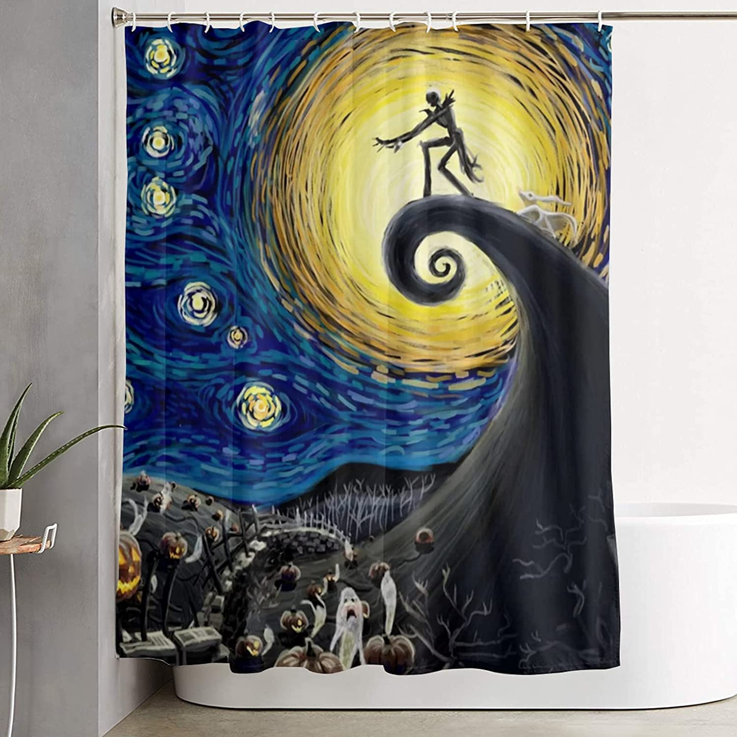 Starry Night Printed Bathroom Materi Gorgeous Daily bargain sale Soft Shower Curtain