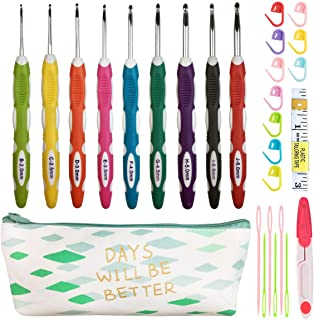 Latest Set of 27 PCS Ergonomic Crochet Hooks Set with Case Extra Long Soft Grip Handles Crochet Hook Needles for Arthritic Hands,Standard US Size B(2MM)-J(6MM)