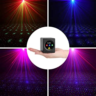 SUNY Mini Portable Cordless Laser Lights Rechargeable RGB Stars Patterns Gobo Projector Sound Activated Music DJ Party Lights for Outdoor Travel Camping Disco Live Show Home Dance