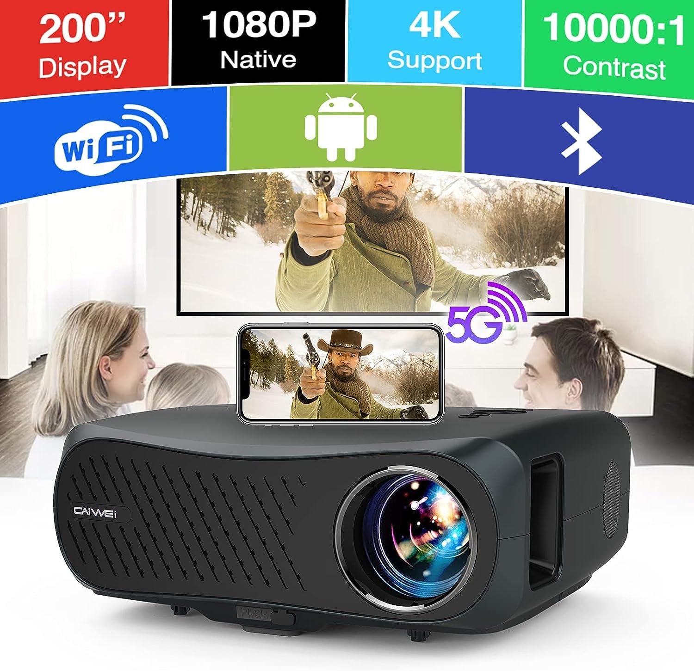 Full HD WiFi Bluetooth Projector, Native 1080P 5G Wireless 200
