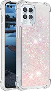 SUNSON Compatible with Moto Edge S Phone Case, Sparkle Liquid Champagne Quicksand Series Glitter Bling Floating Soft TPU C...