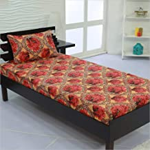 Valito - Microfiber (90 GSM), Single Bedsheet, (235 cm x 140 cm) with Matching Pillow Cover (42 cm x 69 cm) - Red Floral Motif, Yellow