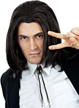 Hitman Black Wig 90s Mens Costume Wigs Black Natural Hairstyle Can Tie into Ponytail - Fits Men & Kids