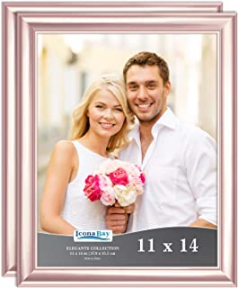 Icona Bay 11x14 Picture Frame (2 Pack, Rose Gold), Rose Gold Photo Frame 11 x 14, Wall Mount or Table Top, Set of 2 Elegante Collection