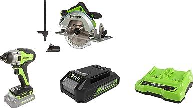 Greenworks Tools 1500907 Sierra Circular, 24 V + Destornillador inalámbrico y de taladro GD24ID + Batería G24B2 2ª generación + Batería de doble ranura Cargador universal G24X2C
