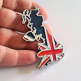 SAISDON- Uk England Flag Union Jack Hq Metal Chrome Car Badge Sticker Decal Emblem Trunk Side Logo Auto 3D Adhesive Die Cast Zinc Alloy [1 Piece][2062]