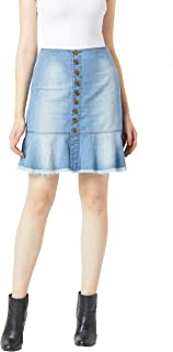 Miss Chase Women's Comfortable Blue Mini Denim Skirt