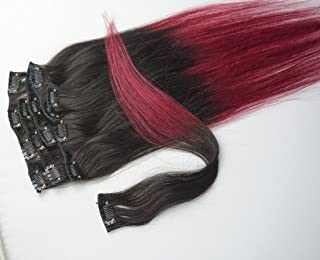 ( 1B/BUG Top Natural Black End BUG) - 46cm 7pcs Clips in Human Hair Extensions Ombre Hair 70g/set Woman Beauty Cosplay Wi...