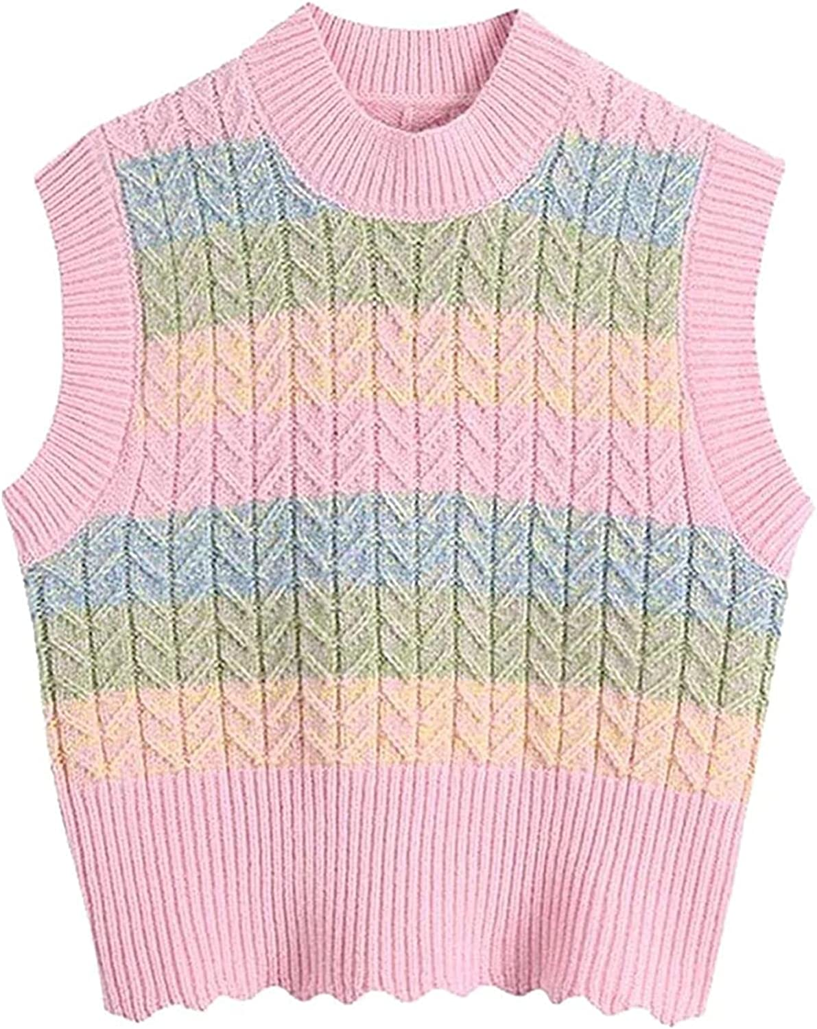 Women Sweet Fashion Color Striped Cropped Vest Sweater Vintage Sleeveless Female Waistcoat Chic Tops