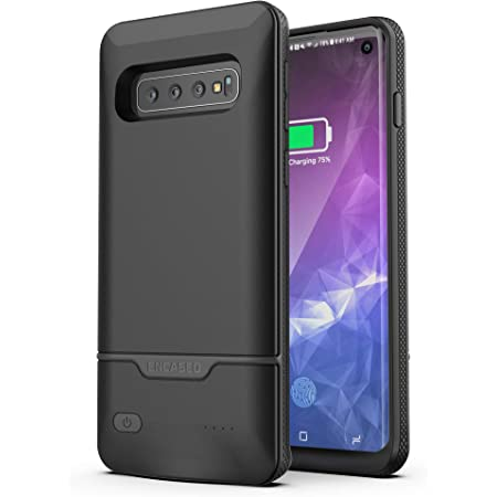 Encased Galaxy S10 Battery Case - Protective Charging Case with Extended Smart Power Reserve - Rebel Series for Samsung Galaxy S10 (Black)