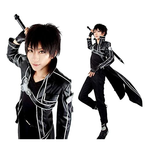 Another Me Mens Costume Sword Art Online Anime Kirito PU Jacket Coat SAO Outfit Cosplay Suit