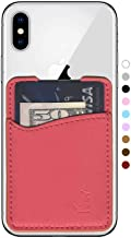 Premium Leather Phone Card Holder Stick On Wallet for iPhone and Android Smartphones (Coral Leather)